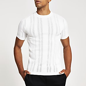 Weißes Slim Fit Strick-T-Shirt im Pointelle-Stil