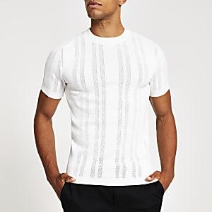 T-shirt slim en maille pointelleblanc