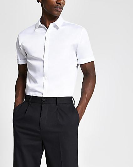 White slim fit premium short sleeve shirt