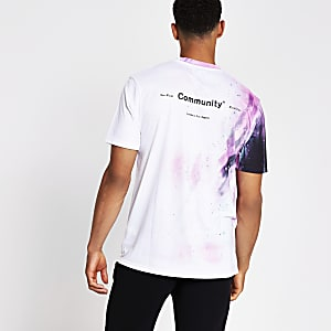 Wit slim-fit T-shirt met print
