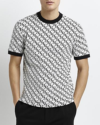 White slim fit RI monogram jacquard t-shirt