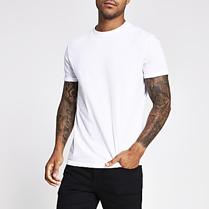 White slim fit roll sleeve T-shirt