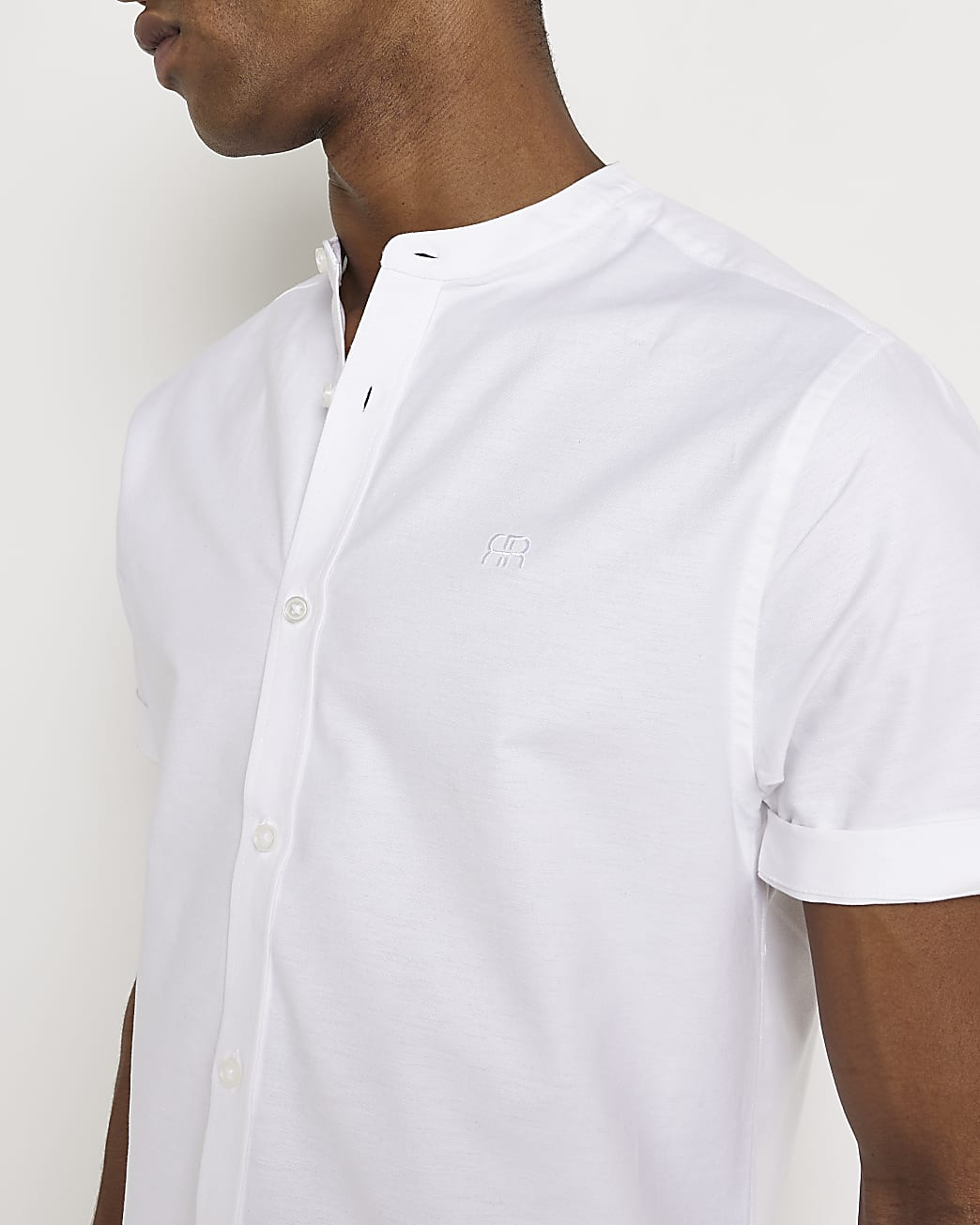 White slim fit short sleeve Oxford shirt