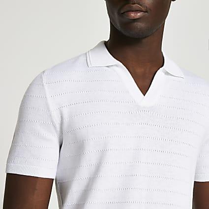 White slim fit short sleeve polo shirt