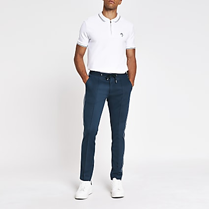 White slim fit short sleeve polo