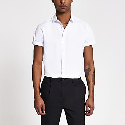 White slim fit short sleeve shirt