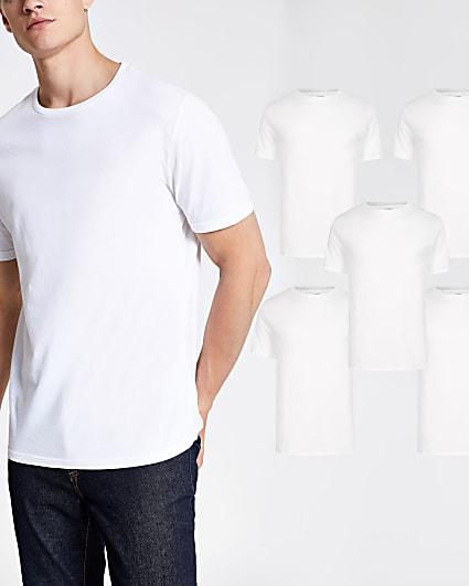 White slim fit short sleeve t-shirts 5 pack
