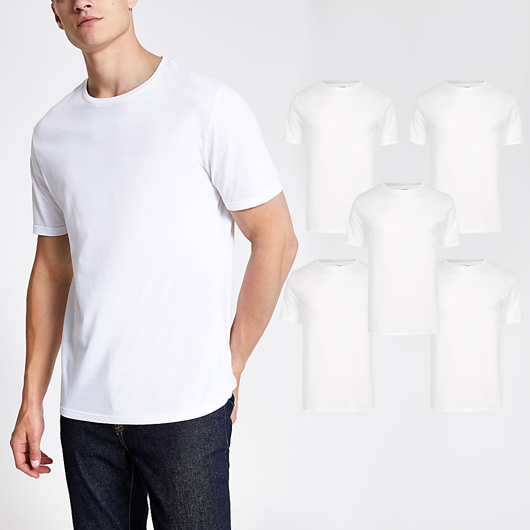 White slim fit short sleeve t-shirts 5 pack