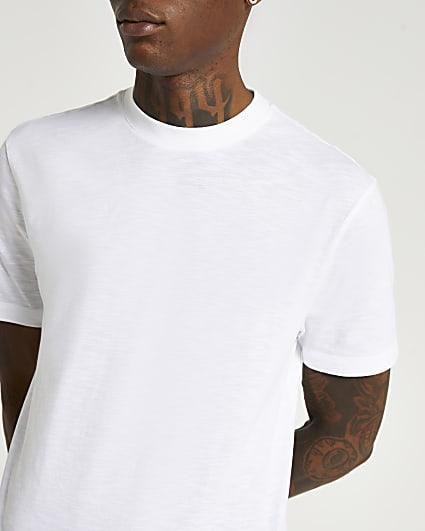 White slim fit slub t-shirt