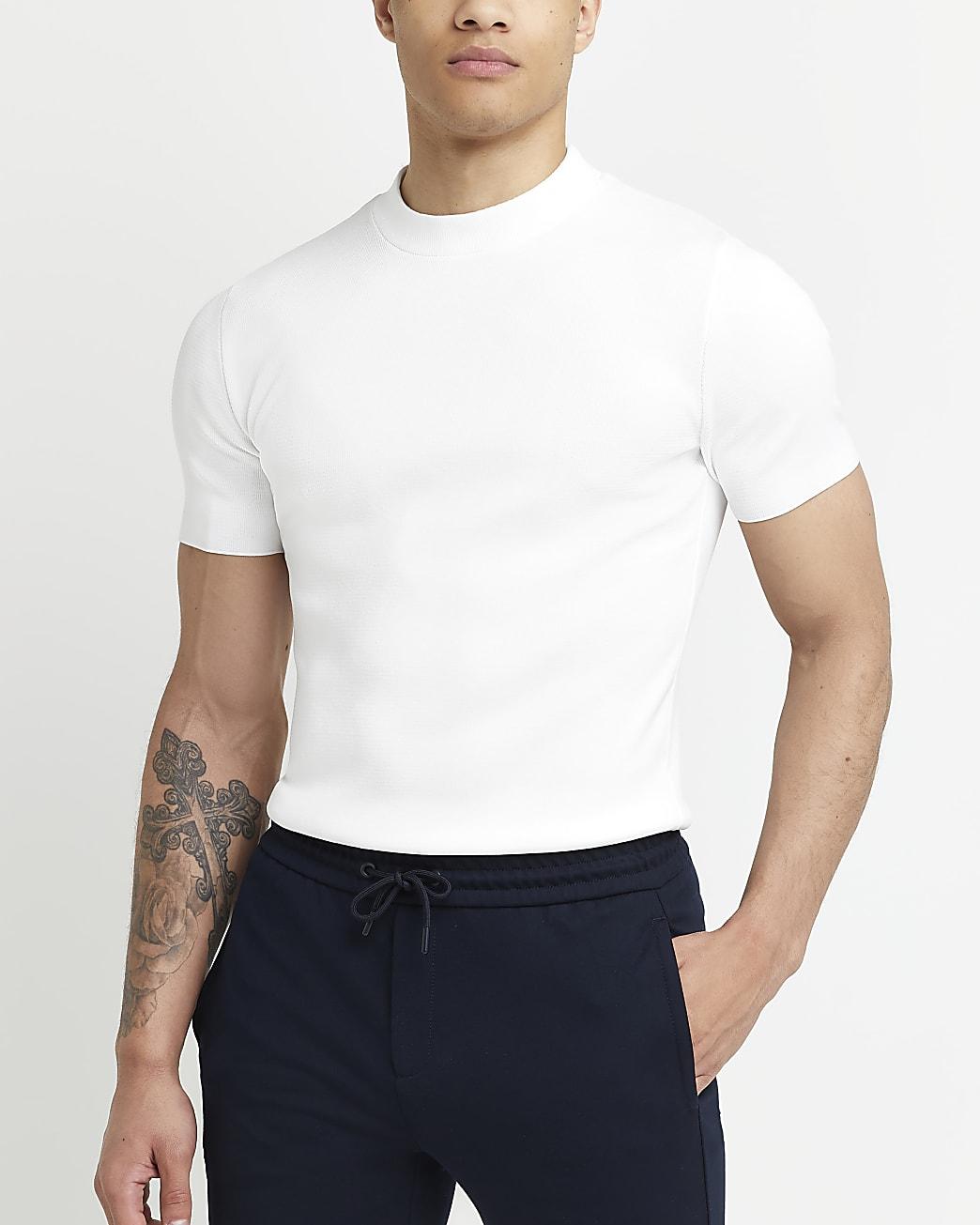 White slim fit smart knit t-shirt