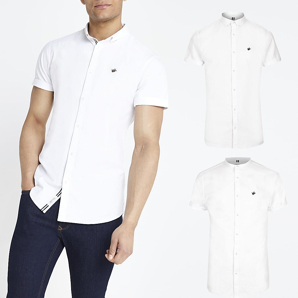 Set van 2 witte slim-fit Oxford overhemden met korte mouwen