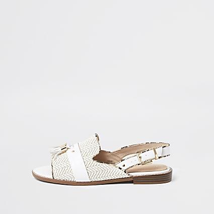 White sling back peep toe shoe