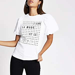White slogan print la mode T-shirt