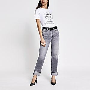 Wit T-shirt met sloganprint en siersteentjes
