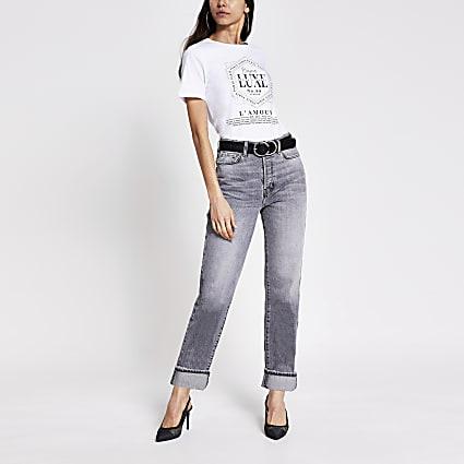 White slogan printed diamante T-shirt