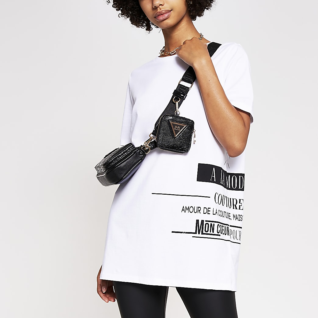 White slogan side print jumbo t-shirt