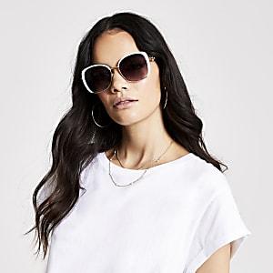 Witte glamour zonnebril met rookkleurige glazen