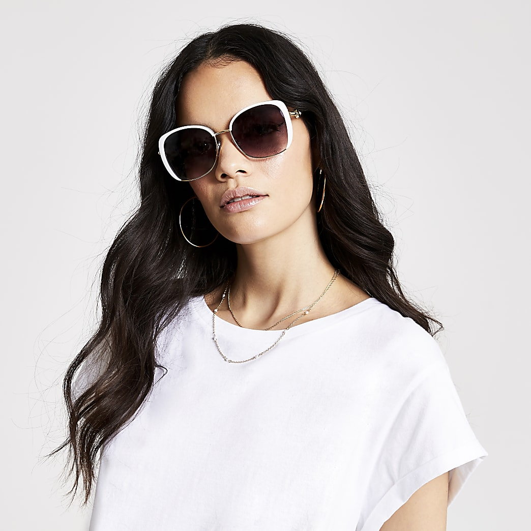 White smoke lens glam sunglasses