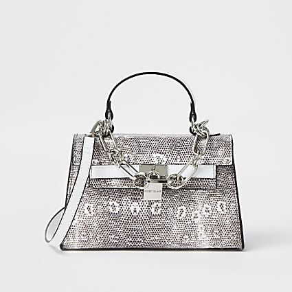 White snake print mini tote bag
