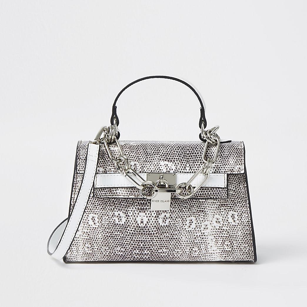 White snake print mini tote bag