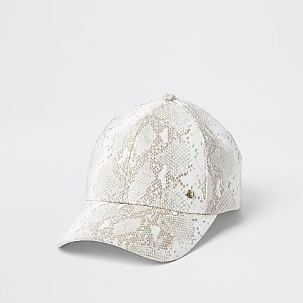 White snake printed cap hat