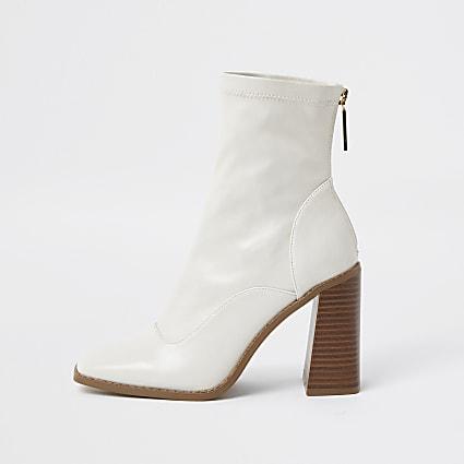 White sock block heel ankle boot