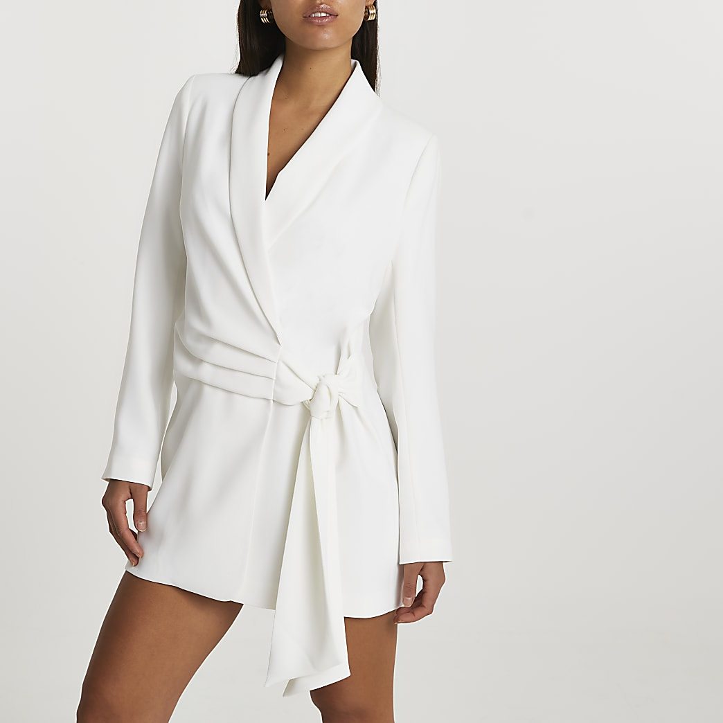 White soft belted blazer dress