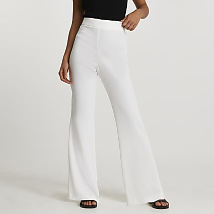 White soft crepe fare trousers