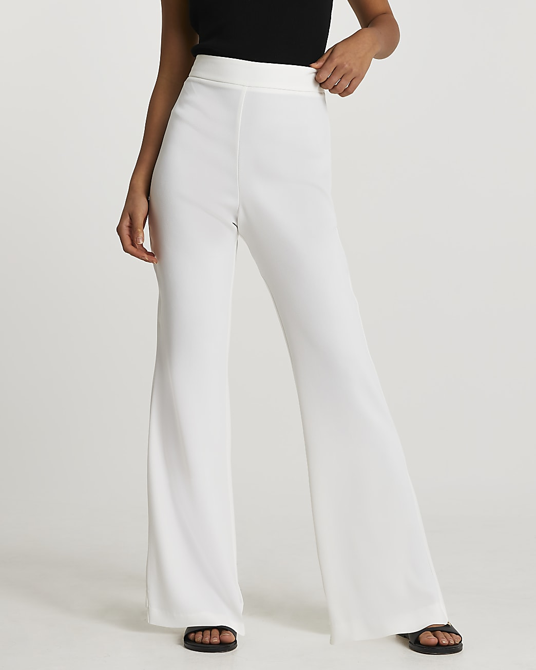 White soft crepe flare trousers