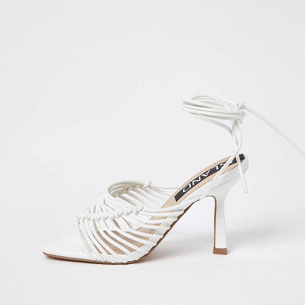 White spaghetti strap high heel sandal