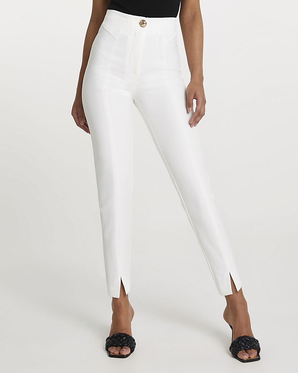 White split front cigarette trousers