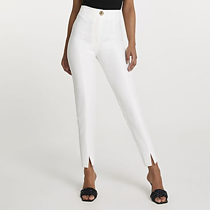 White split front cigarette trousers