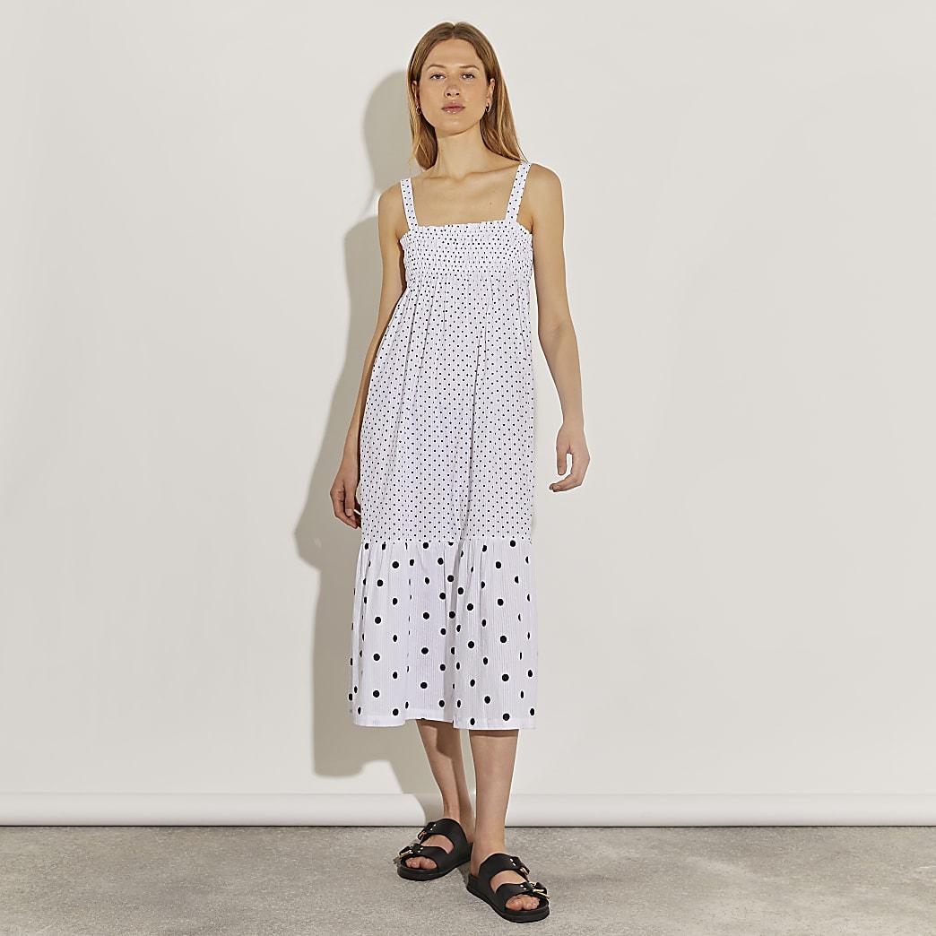 White spot maxi dress