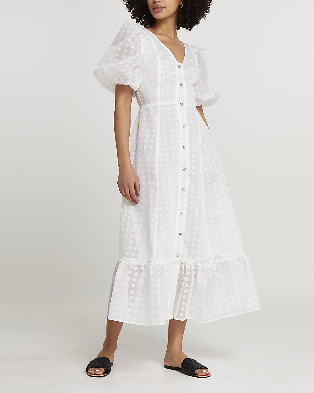 White spot mesh puff sleeve midi dress