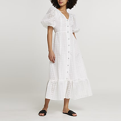 White spot mesh puff sleeve midi dress
