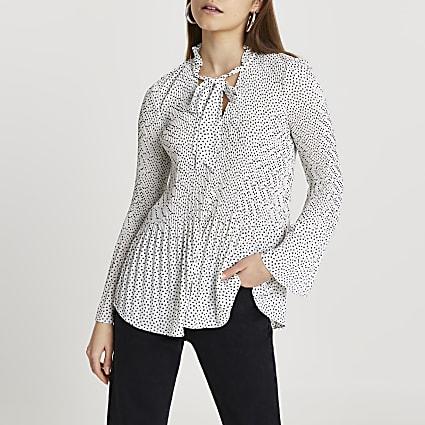 White spot print blouse