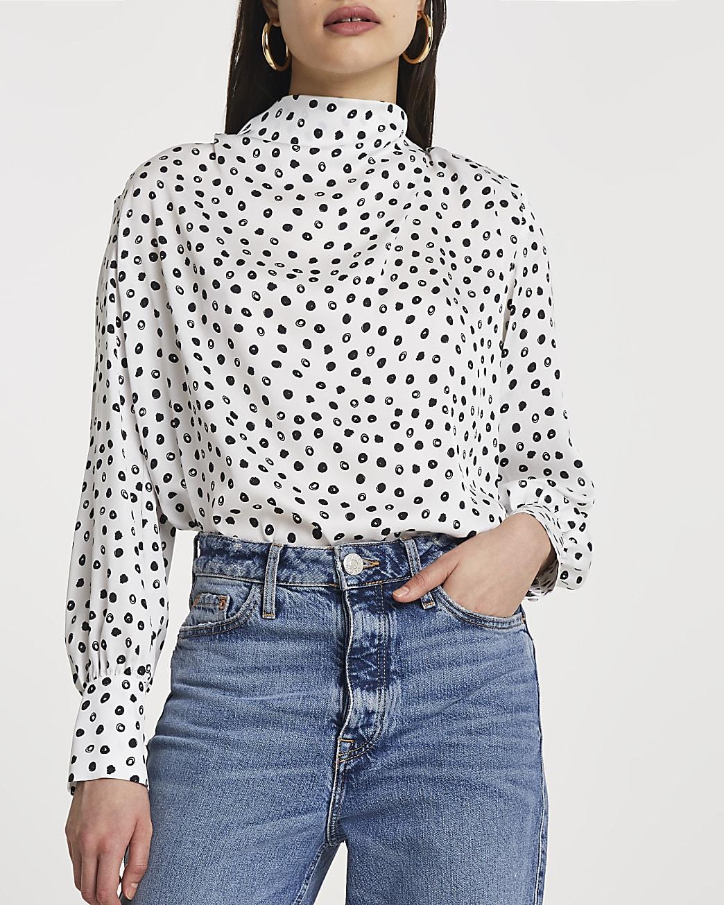 White spot print cowl neck blouse top