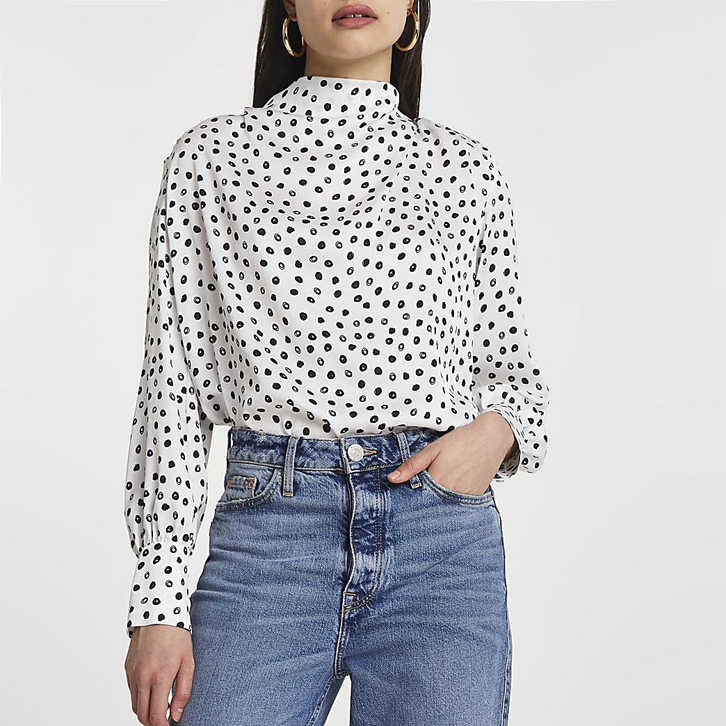 White spot print cowl neck blouse top