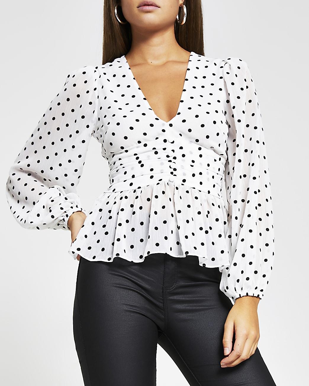 White spot print long sleeve blouse top