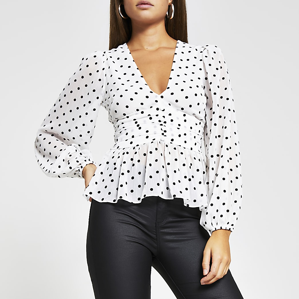 White spot print long sleeve blouse top
