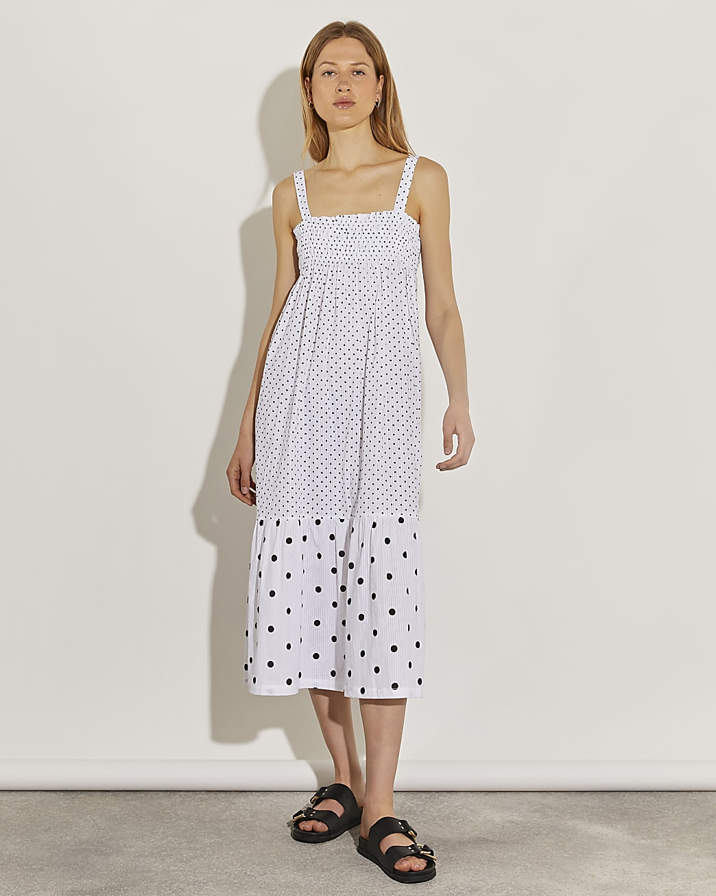White spot print midi dress