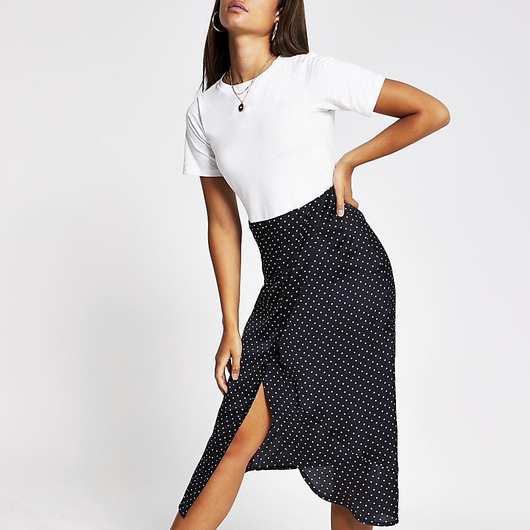 White spot print short sleeve midi dress