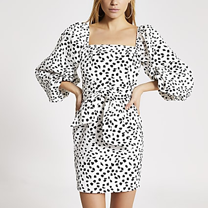 White spot printed puff sleeve mini dress