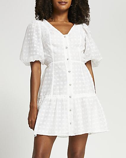 White spot puff sleeve button mini dress