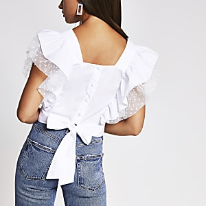 White square neck hybrid top