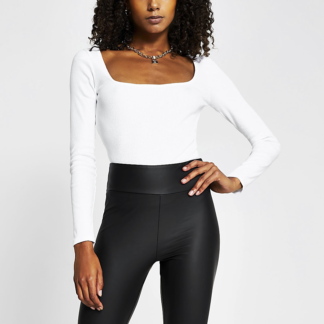 White square neck ribbed long sleeve top