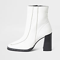 White square toe leather ankle boots