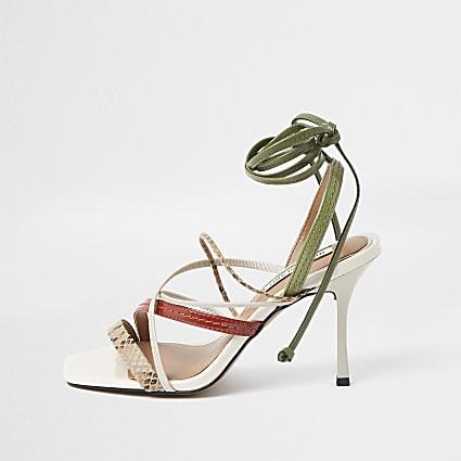 White Square Toe Tie Up Sandal