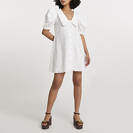 White Ss Broderie Collar Swing Dress