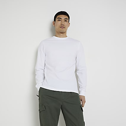 White stepped hem cuff slim fit t-shirt